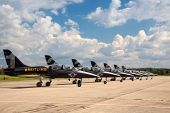 HRADEC KRALOVE, CZECH REPUBLIC - SEPTEMBER 5: Seven airplanes Aero L-39 Albatros from Breitling Jet