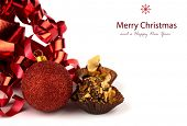 Christmas cupcakes with christmas decoration isolated on white background