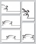 five cards with abstract cars
