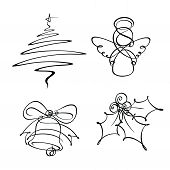 foto of winterberry  - Hand-drowned line art icons. The Christmas tree and angel were developed with a single line the bell with two and the holly berry with three. 