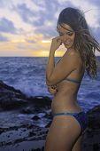 Girl In Bikini At Beach In Hawaii