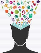 Education Colorful Icons Human Head Book.
