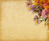 Beige paper  with autumn flowers