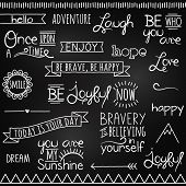 Hand Drawn Chalkboard Style Words, Quotes and Decoration