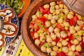image of chickpea  - Delicious tangine of chickpeas and tomato salad - JPG