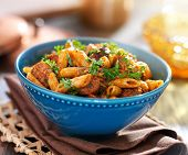 bowl of rigatoni pasta with meaty sausage