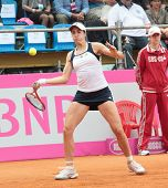 KHARKOV, UKRAINE - APRIL 21: Christina McHale, USA in the match with Lesia Tsurenko during Fed Cup tie between USA and Ukraine in Superior Golf and Spa Resort, Kharkov, Ukraine at April 21, 2012