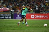 KUALA LUMPUR - AUGUST 9: FC Barcelona 's Neymar Jr. practices during training at the Bukit Jalil Sta