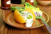 Potato With Cottage Cheese And Salad