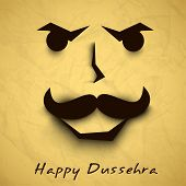 Indian festival Happy Dussehra background with Ravana Face.