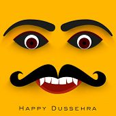 Indian festival Happy Dussehra concept with Ravana face.
