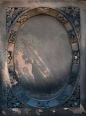 picture of empty tomb  - Aged Victorian gravestone frame with a gothic grunge look - JPG
