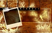 vintage background with film strips, instant photo and handwritings