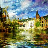 old Belgium channel - picture on painting style