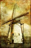 old windmill - artistic vintage picture
