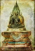 ancient budda statue - vintage card