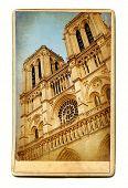 european landmarks- vintage cards - Notre dame poster