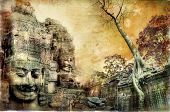 mysterious temples of ancient civilisation - artwork in painting style (from my cambodian series)