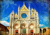 great italian landmarks painted series -Siena cathedral poster