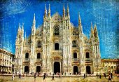Milan cathedral - great italian landmarks vintage series