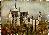 Neuschwanstein castle - retro styled picture