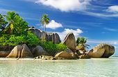 granite rocky beaches on Seychelles islands- La digue