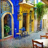 traditional Greek street tavernas -artwork in retro style
