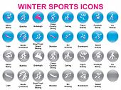 foto of luge  - set of round icons with winter sports - JPG