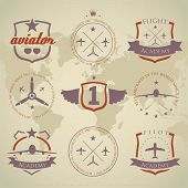 image of yoke  - Set of vintage aviation labels  - JPG