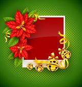 Christmas greeting card with traditional red poinsettia flowers and gold jingle bells on green backg