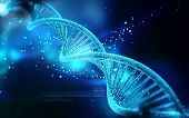 picture of gene  - Digital illustration DNA structure in colour background - JPG