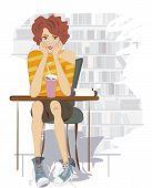 Teenage Girl with Chocolate Shake and Books