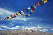picture of indian flag  - tibetan flags with mantra on sky background - JPG