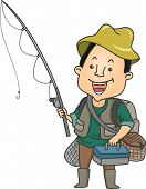 Illustration of a Man Holding a Fishing Rod and Carrying Other Fishing Equipment