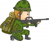 Illustration of a Soldier in Camouflage Uniform Holding a Rifle and Taking Aim