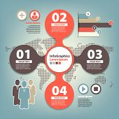 set infographic on teamwork in business