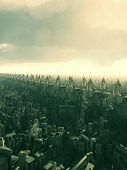 stock photo of alien  - Skyway flyover above a futuristic city on an alien world - JPG