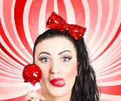Happy Young Retro Woman With Lollipop Toffee Apple