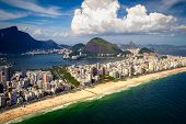 stock photo of ipanema  - Aerial view of buildings on the beach front Ipanema Beach Rio De Janeiro Brazil - JPG