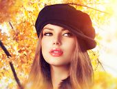 picture of french beret  - Autumn Woman in a Beret - JPG