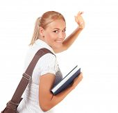 Closeup on happy student girl walking away and waving bye, isolated on white background, high school, time to learn, education concept