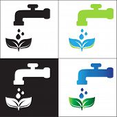 stock photo of greenpeace  - Water tap and green leaves - JPG