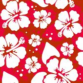 stock photo of stamen  - Seamless pattern with Hibiscus flowers - JPG