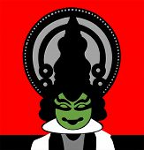 image of kali  - Illustration of Kath kali actor in red backgrounds - JPG