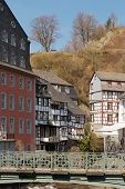 View on Monchau village center in the Eifel region of Germany