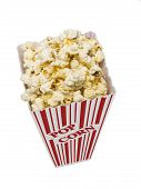 Popcorn In Small Tub Shot Vertical Isolated