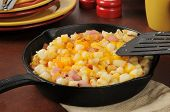 Diced Ham And Potatoes With Cheddar Cheese