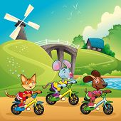 Pets are going for a ride in the countryside. Cartoon and vector illustration