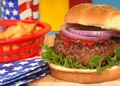 Hamburger In 4Th Of July Setting