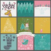 Cartoon Christmas and New Year set in vector. Deer with birds, Santa in forest, Snowman, holiday tree, cute cat with gifts and other funny Christmas cards and backgrounds